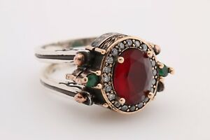 Turkish-Reversible-Oval-Emerald-Ruby-Jade-Topaz-925-Sterling-Silver-Ring-Size