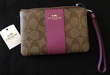 NWT ❤️ Coach ❤️ 58035 Signature PVC Leather Corner Zip Wristlet Purse Wallet