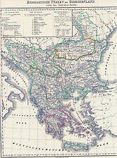 Echte 175 Jahre alte Landkarte GRIECHENLAND Ελλάς Türkei Besatzungskarte 1842
