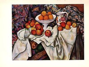 """1963 Vintage CEZANNE """"STILL LIFE WITH APPLES AND ORANGES"""" offset Art Lithograph"""