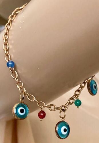 14 Karat Yellow Gold Evil Eye Bracelet