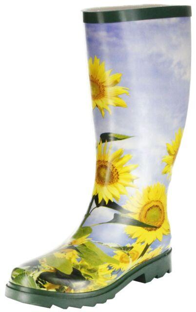 Conway Gummistiefel grün Regenstiefel Damen Stiefel Schuhe Sonnenblume