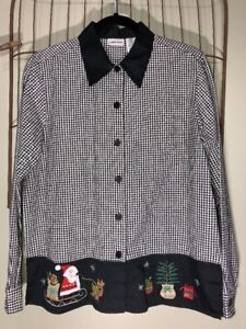 Cabin-Creek-Black-White-Checked-Christmas-Blouse-Top-Women-s-Small-10-12