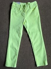 BNWT NEXT Girls Fluorescent Yellow Skinny Jeans 4 Years 104cms Adjustable Waist