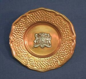 Vintage-Republica-de-Chile-Hand-Hammered-Copper-and-Silver-Dish-Small-Tray