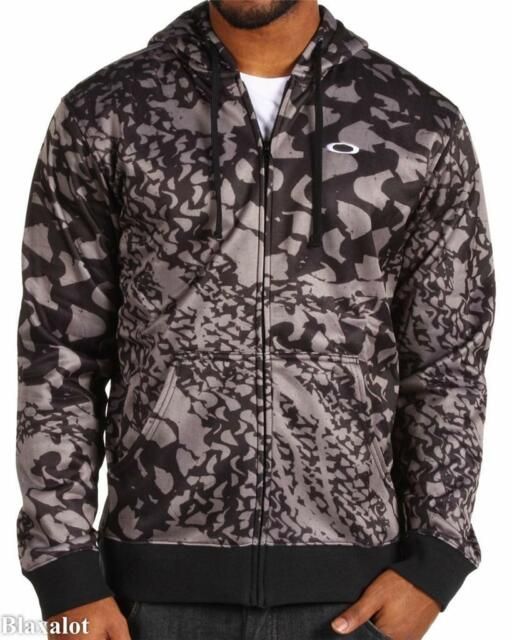 NEW OAKLEY RIPPLE FULL ZIP FLEECE HOODIE SWEATSHIRT Black Shadow Camo Mens S/M/L