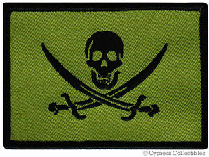 HENRY EVERY PIRATE FLAG iron-on PATCH JOLLY ROGER Skull Swords EMBROIDERED SKULL