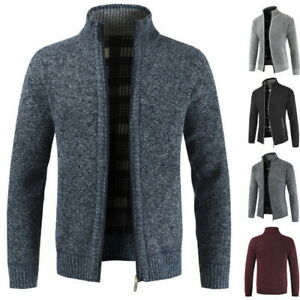 Mens-Slim-Fit-Full-Zip-Knitted-Cardigan-Sweaters-Stand-Collar-Coat-Pocket-Coats