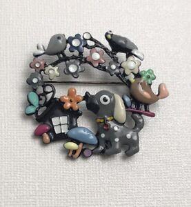 Unique-dog-bird-mushroom-amp-butterfly-brooch-in-enamel-on-metal