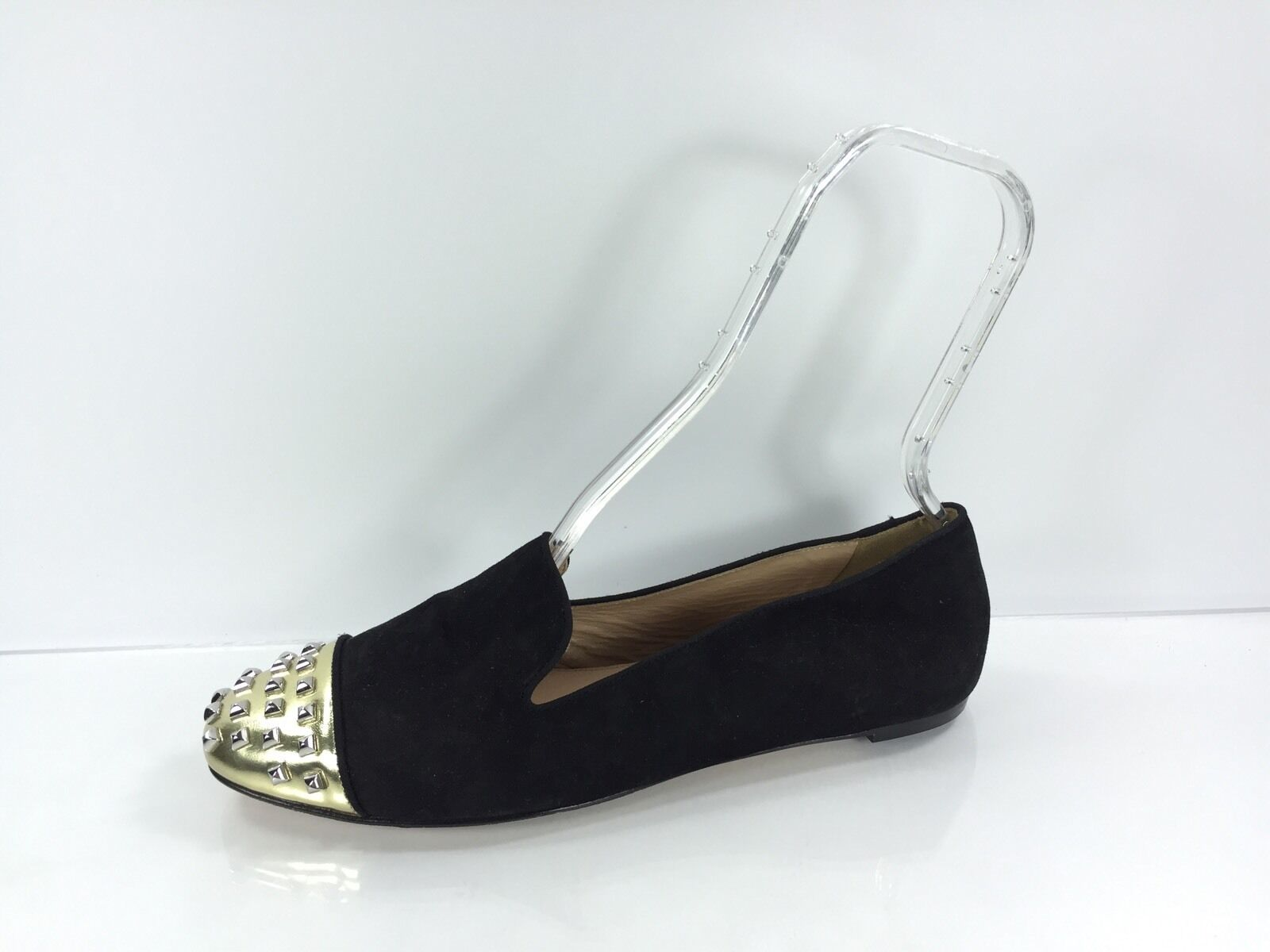 J Crew Women's Studded Black Leather Flats 9.5