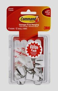 3M Command 9 Small Wire Hooks 12 Adhesive Strips Wall ...