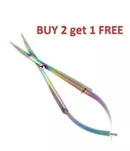 Straight Fine Point Stainless Steel Spring Action Micro Scissors Sewing Craft
