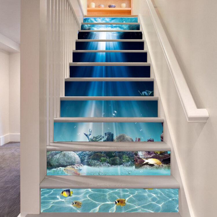 3D Ozean Welt 6112 Stair Risers Dekoration Fototapete Vinyl Aufkleber Tapete DE