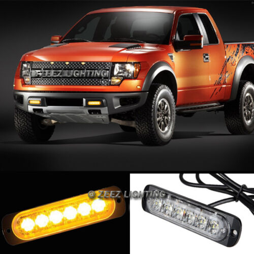 1X Yellow//Amber 6 LED Emergency Hazard Warning Caution Beacon Strobe Light Bar06