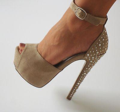 Beige Nude Suede Platform Peep Toe Ankle Strap Stilettos Heels Sandals Shoes 9