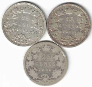 3-X-CANADA-25-CENT-QUARTERS-QUEEN-VICTORIA-925-SILVER-COIN-1872H-1874H-1890H