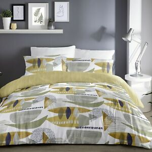 Dreams-amp-Drapes-SALDANA-Ochre-Yellow-Easy-Care-Duvet-Cover-Set-Bedding-All-Sizes