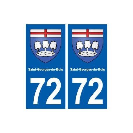 72 Saint-Georges-du-Bois blason autocollant plaque stickers ville arrondis