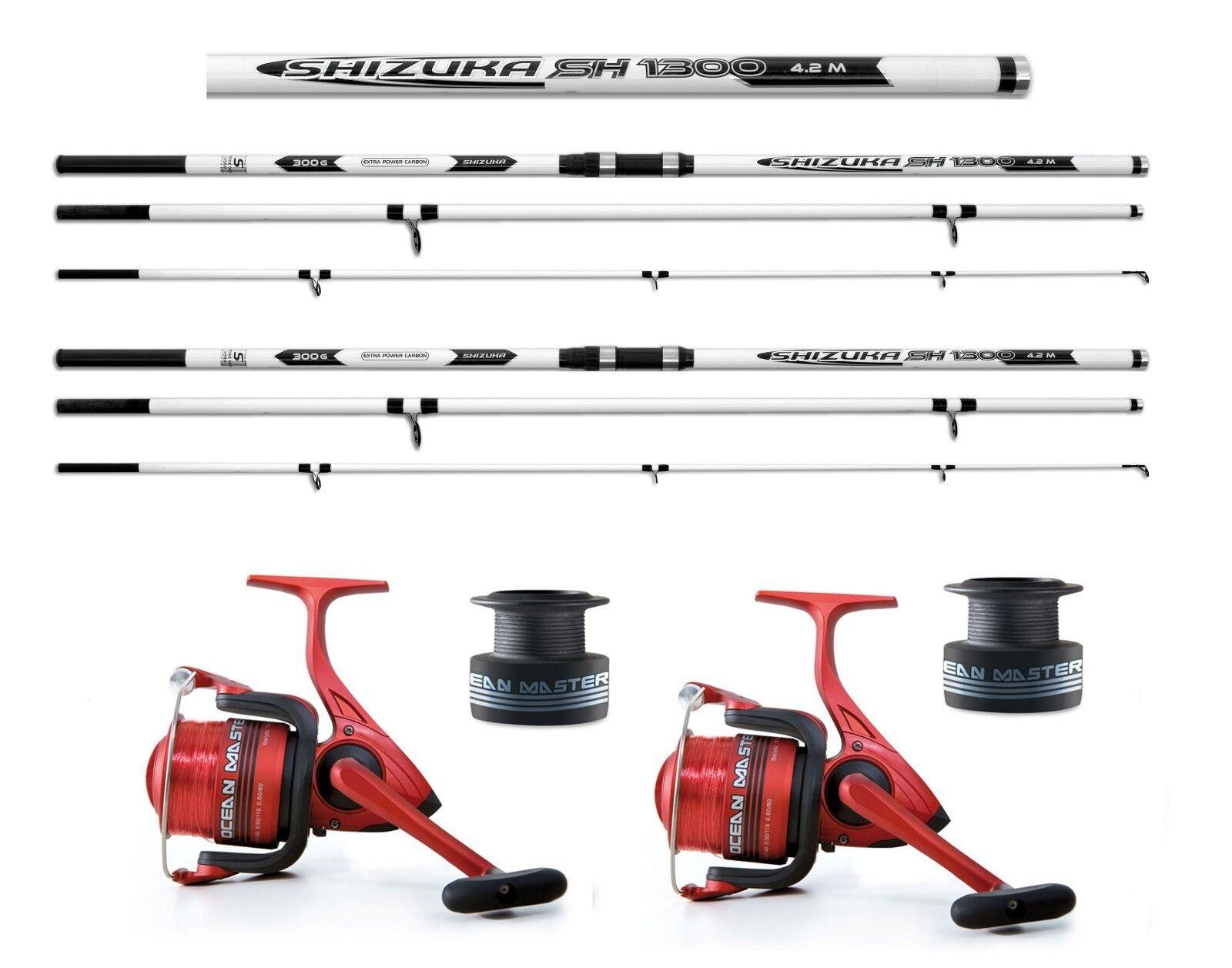 2 x Shizuka carbon beachcaster rods 15ft + 2x Ocean master 70 reels sea fishing