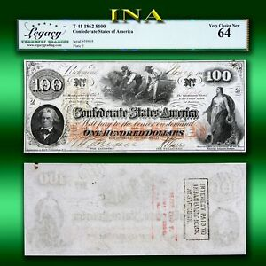 Confederate-States-of-America-1862-100-T-41-Civil-War-LEGACY-Very-Choice-Unc-64