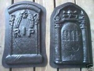 2 Plaster concrete cement tombstones halloween molds