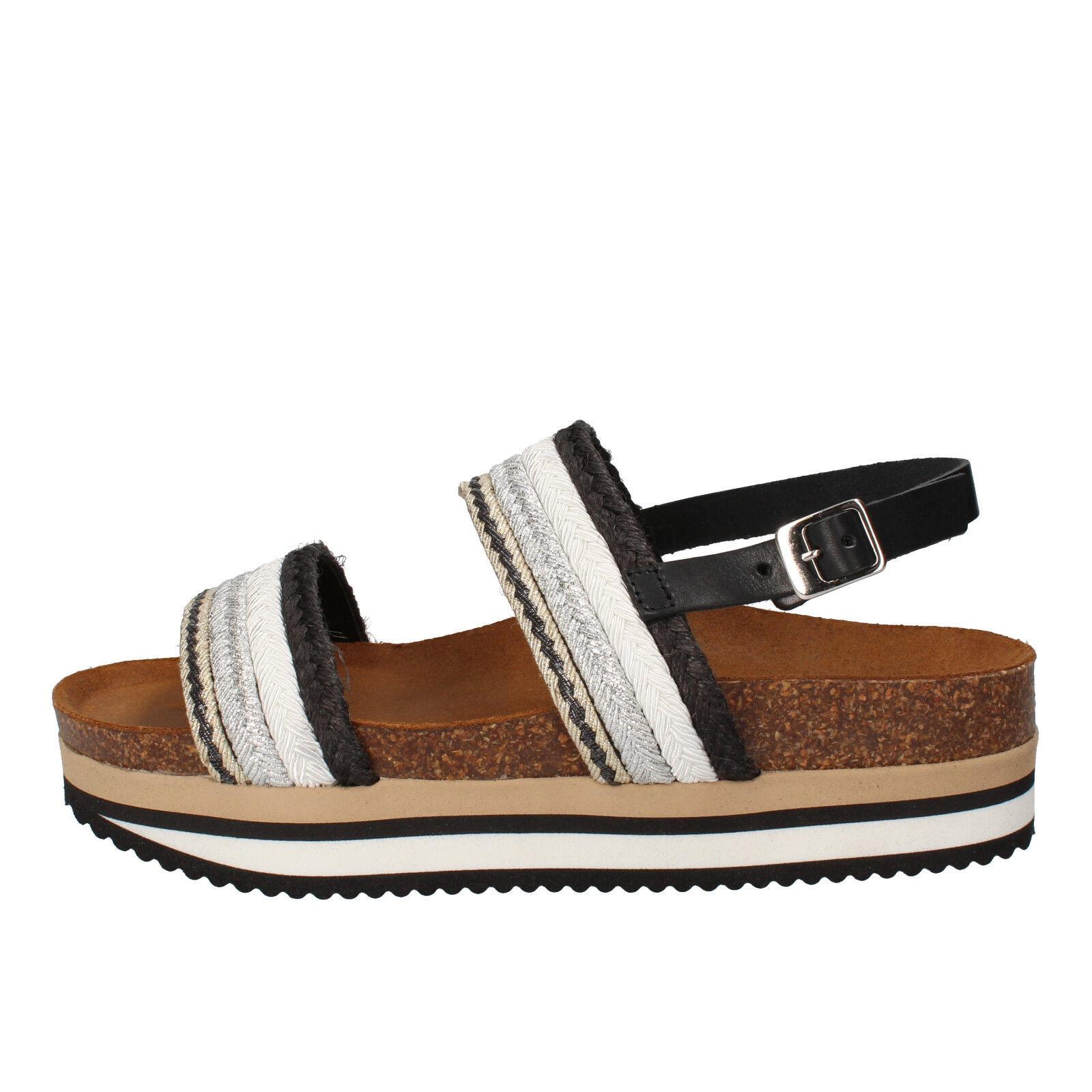Scarpe donna EU 5 PRO JECT 38 EU donna sandali bianco nero tessuto AC590-C 7920c9
