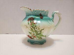 Vintage-RS-Prussia-Floral-Pattern-Porcelain-Creamer-Pitcher