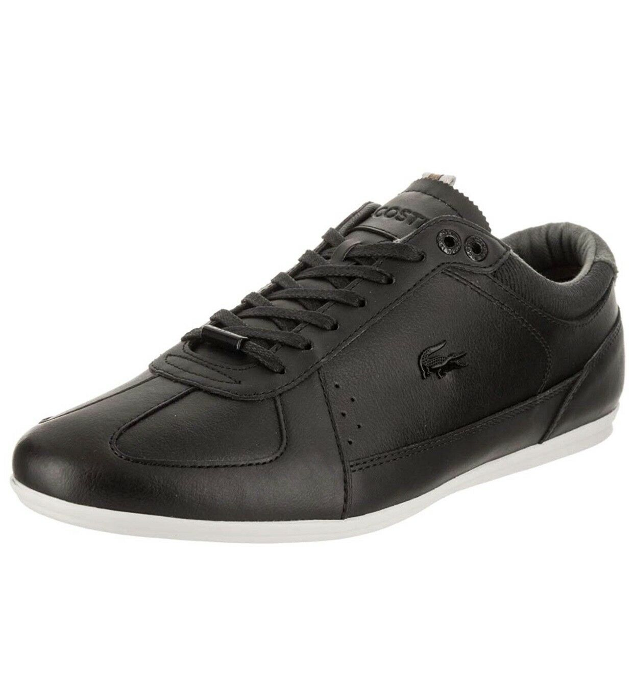 LACOSTE EVARA 318 LEATHER BLACK OFF WHITE 7-36CAM0024454 MEN SHOES S-B
