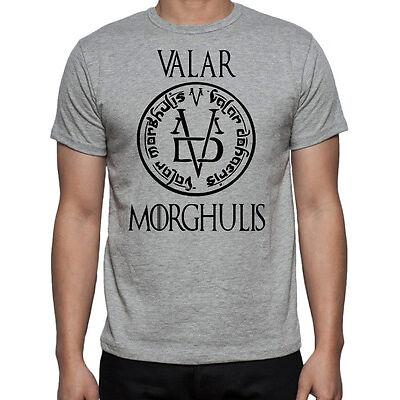 Game Of Thrones Valar Morghulis Logo Fire Ice New GOT Arya Grey Mens T-Shirt
