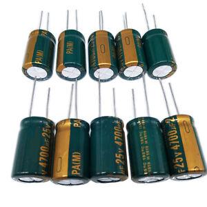 US-Stock-10pcs-Electrolytic-Capacitors-4700uF-4700mfd-25V-105-Radial-16-x-26mm