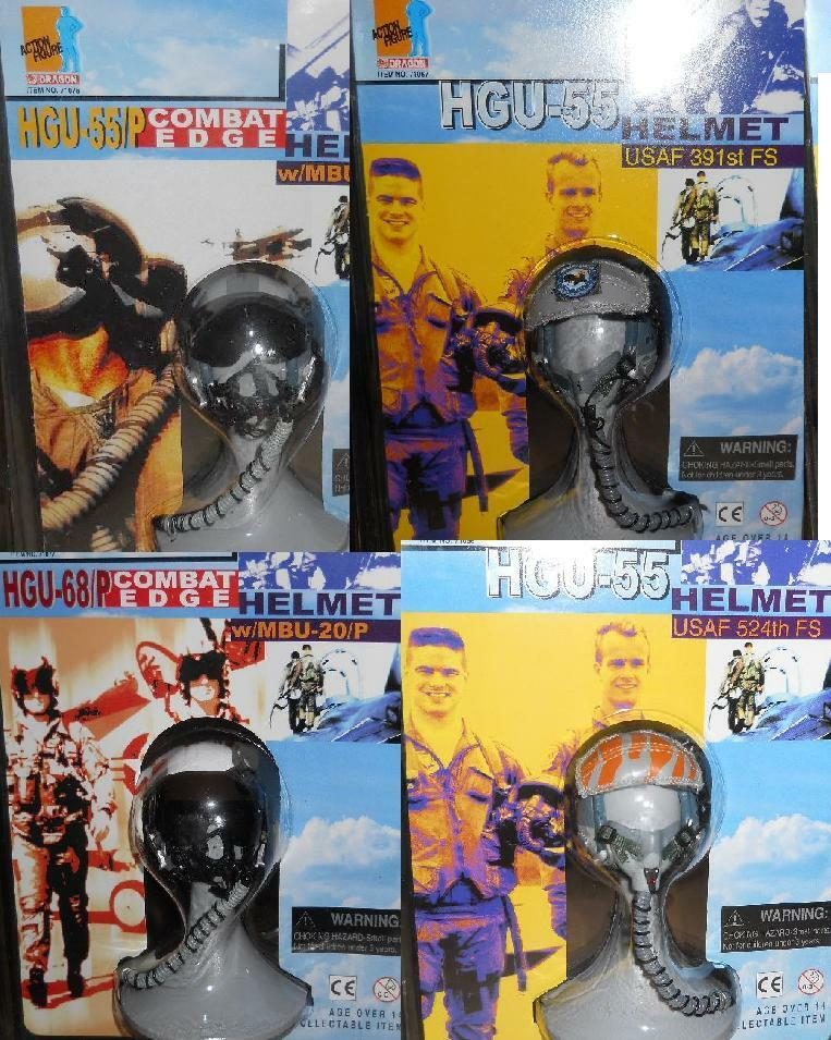 1 6 Dragon HGU-55 and HGU-68P Combat Edge US Fighter Pilot Helmet LOT of 4 MOC