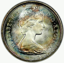 1967 GEM BU Rainbow Toned Canada Silver Quarter 25 Cent - Great vivid Color N60