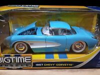 Jada 1957 Chevy Corvette Hard Top Bigtime Muscle 1/24 Scale, Blue. Toys