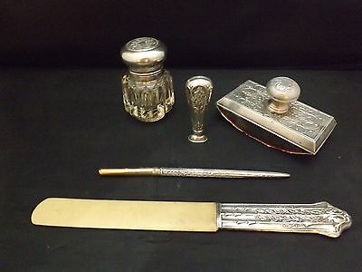 Antique Continental Silver 5pc Writing / Desk Set, Inkwell & Blotter - Antique Desk Sets Collection On EBay!