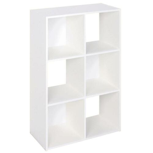24-in Closet Wardrobe Organizer Wood Stackable 6-Cube Shelves Organizer White