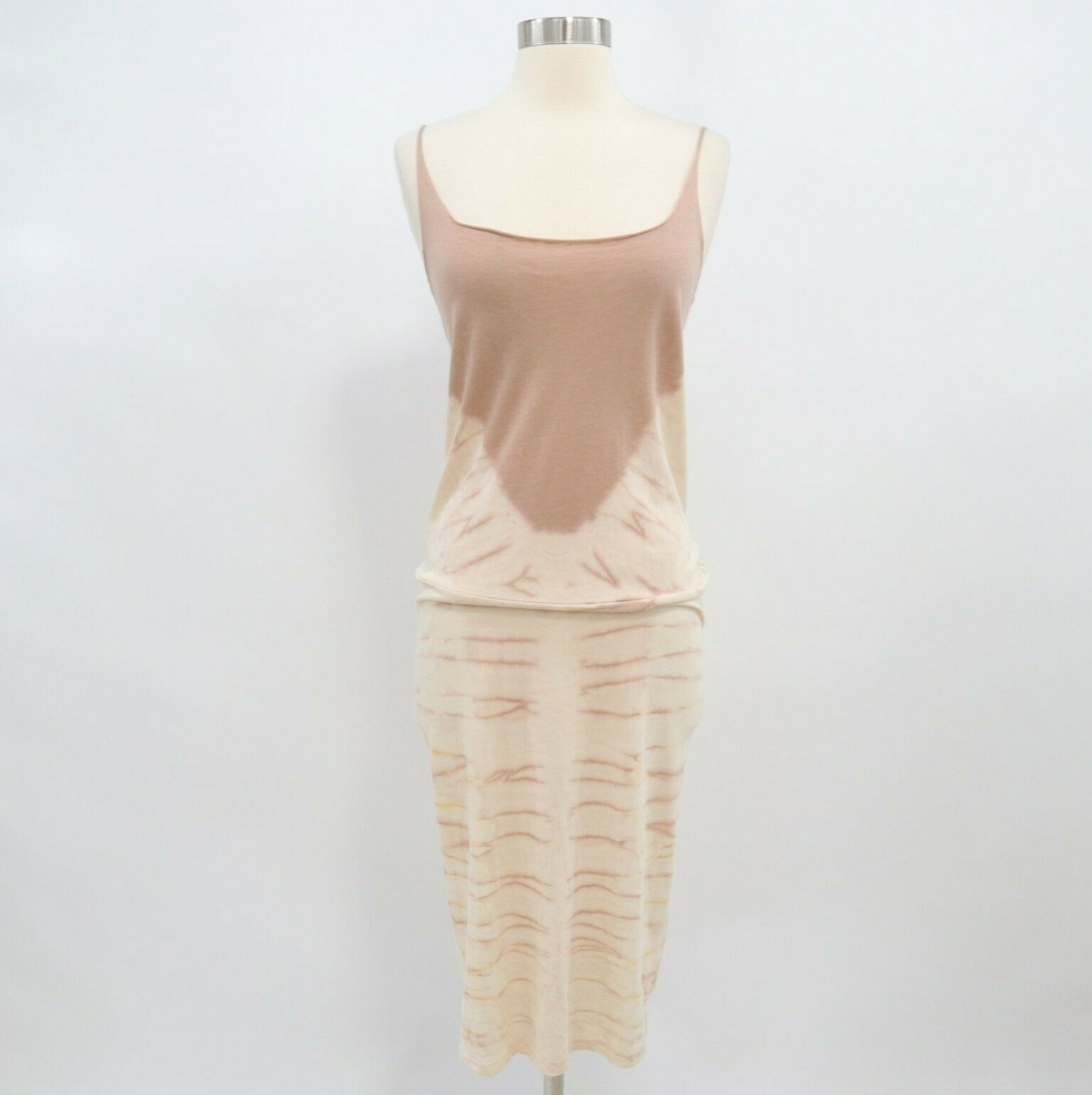 Raguel Allegra Midi Dress Womens Tie Dye Layering NEW Sz 2 Ivory Almond Brown