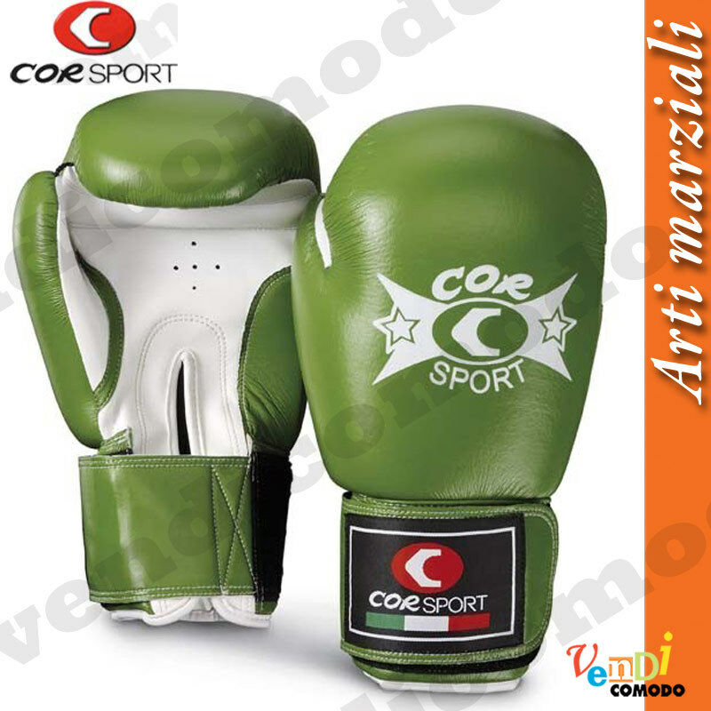 Guantoni boxe CORSPORT pelle sintetica arti marziali 8-10-12 once color green