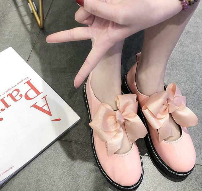 Women shoes Lolita Patent Leather Bows Knot Sweet Style shoes Cosplay shoes