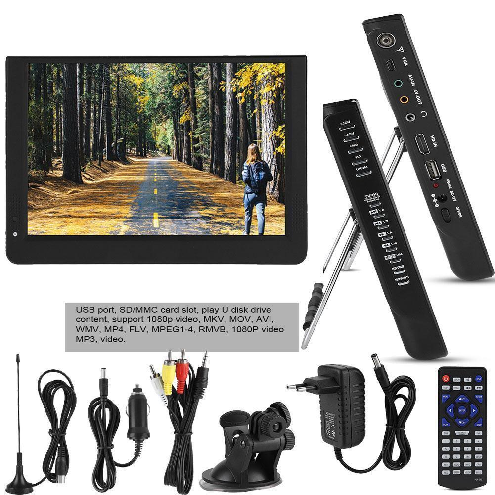 12″ POLLICI TELEVISORE PORTATILE DIGITALE DVB-T/T2 HD AUTO TV PLAYER LETTORE USB