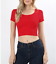 Crop-top-scoop-neck-short-sleeve-fitted-tee-casual-stretch-cotton-solid-top-S-L thumbnail 15