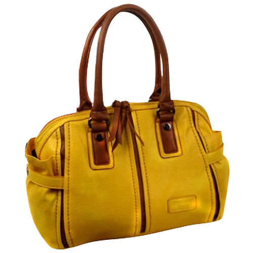 Damen Mädchen Tasche Bowlingbag Schultertasche Lederoptik aus PU gelb braun NEU