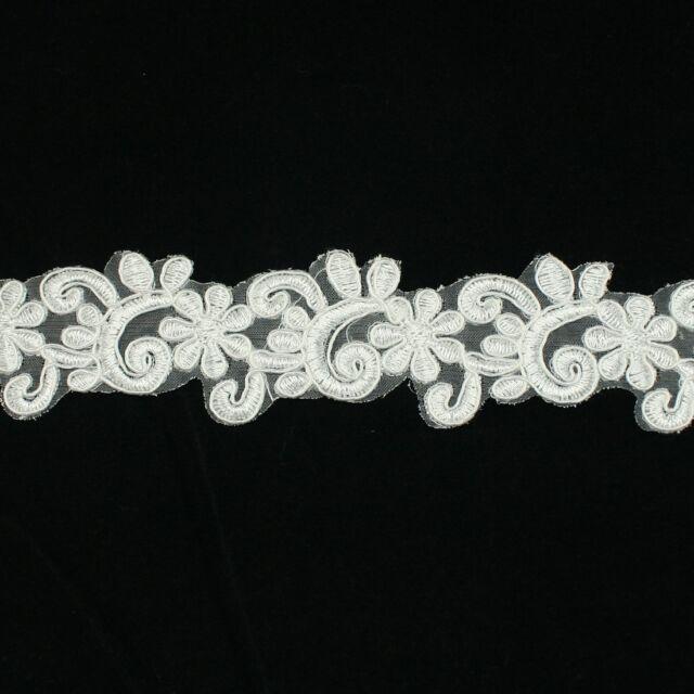 Embroidered Venise Lace Trim #248-  Bridal Wedding Veil Dress Card Scrapbooking