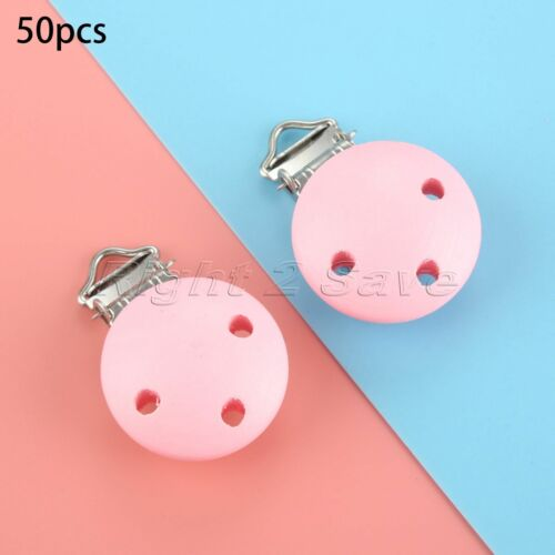 5//10//50//100pcs Wooden Baby Pacifier Clips 3 Hole Infant Soother Clasps 4 Colour