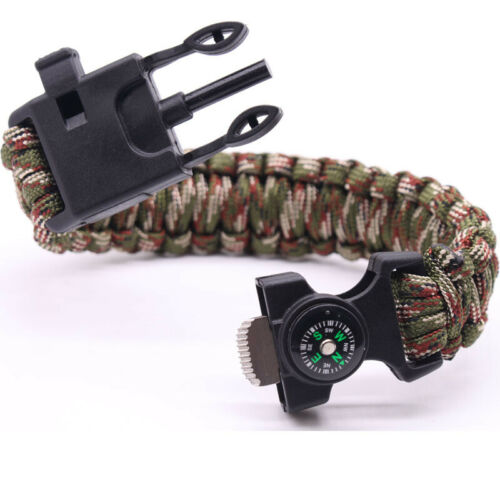 Multi Function Survival Bracelet Paracord Whistle Gear Fire Starter Fishing Kit