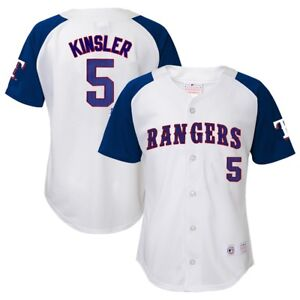 sports shoes 72a02 bf9b0 Details about Ian Kinsler MLB Texas Rangers Player White Home Button Down  Jersey Youth (XS-XL)