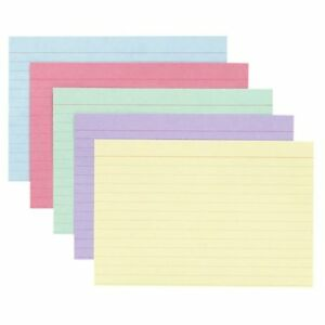 Oxford-Ruled-Index-Cards-5-034-X-8-034-Recycled-100-Pack-Cherry-Blue