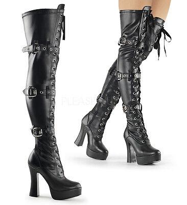 "PLEASER ELE3028/B/PU Sexy Black Platform Triple Buckle 5"" Heel Thigh High Boots"