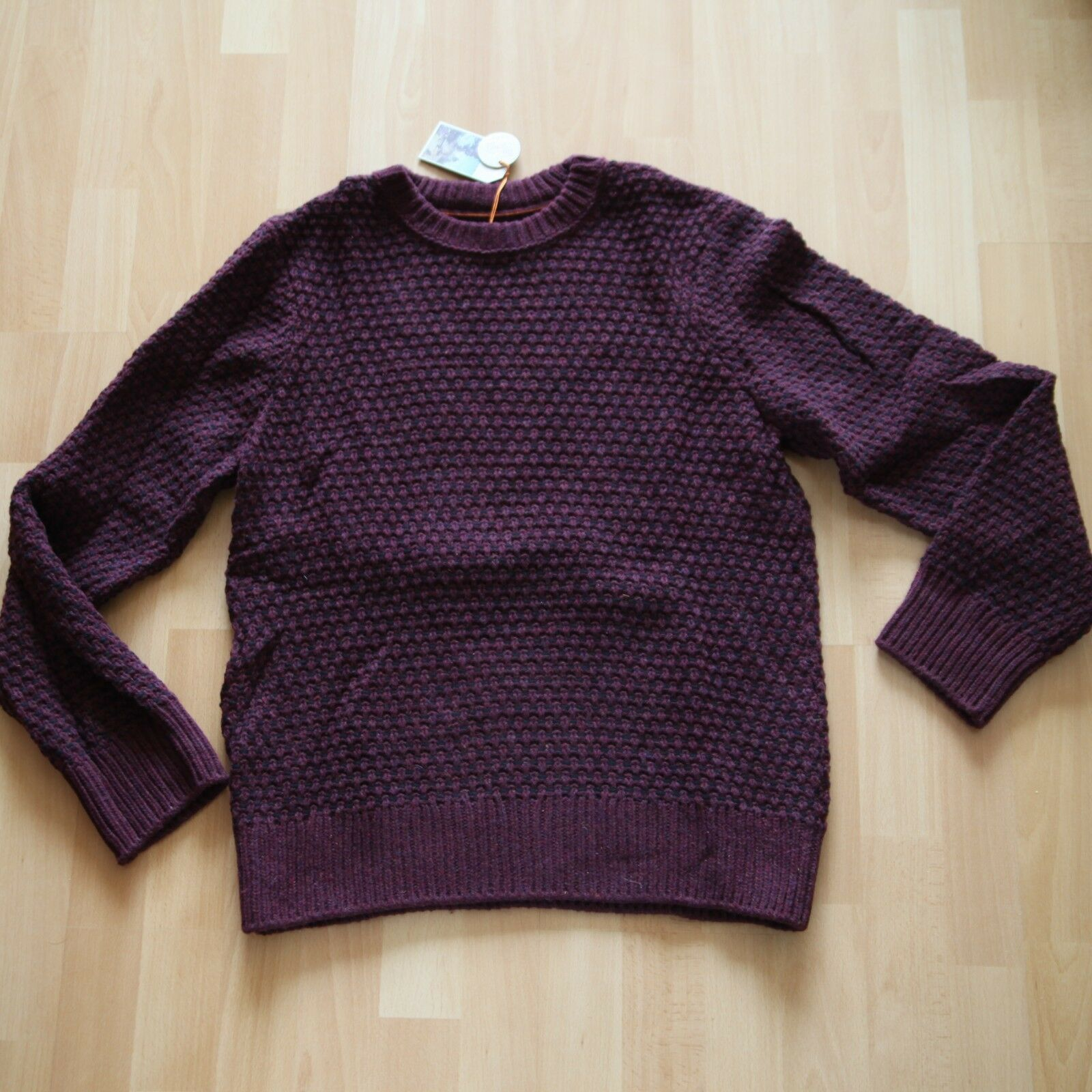 NEU Nudie Jeans Knitted Pullover Pulli Hampus Basket Knit Plum M