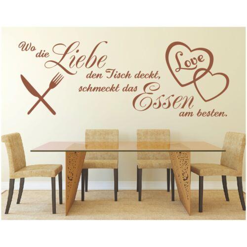 Wandtattoo Spruch  Wo Liebe den Tisch deckt Wandsticker Wandaufkleber Sticker 5