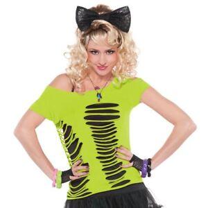 Adulto-Mujer-80s-Verde-Neon-Rave-Raver-Rasgado-Camiseta-Disfraz-Top-Accesorio